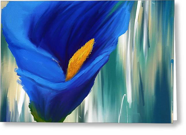 Calla Lily Greeting Cards - Lonesome And Blue- Blue Calla Lily Paintings Greeting Card by Lourry Legarde