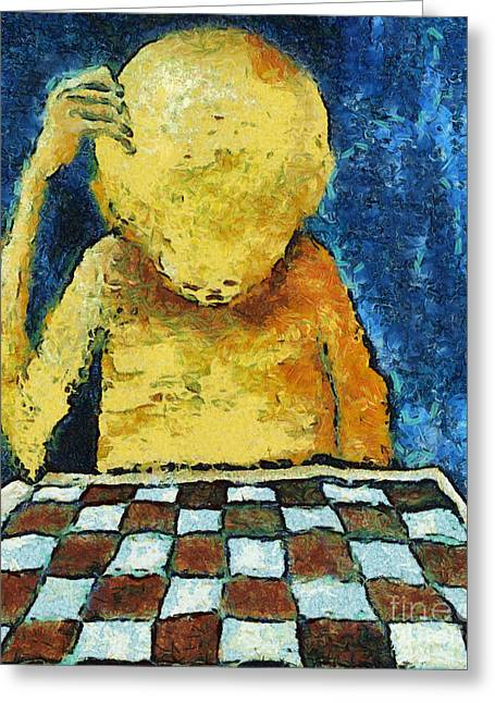 Chess Player Greeting Cards - Lonesome Chess Player Greeting Card by Michal Boubin