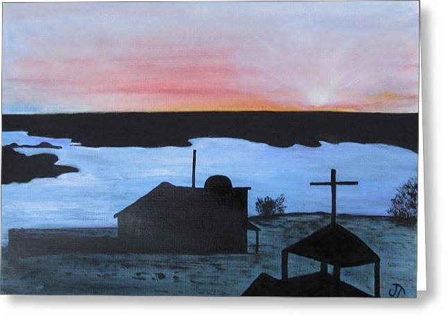 Lonesome Dove Greeting Cards - Lonesome Dove Sunset On the Rio Grande Greeting Card by Jan Townsend