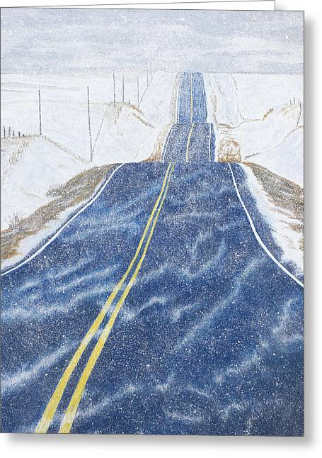 Blowing Snow Greeting Cards - Lonesome Highway Greeting Card by Garry McMichael