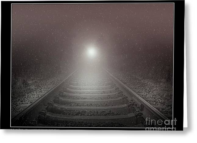 Snowy Night Greeting Cards - Lonesome Night Train Greeting Card by Pedro L Gili