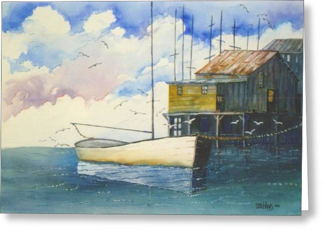 Docked Sailboat Mixed Media Greeting Cards - Lonesome Sailboat Greeting Card by Don Hand
