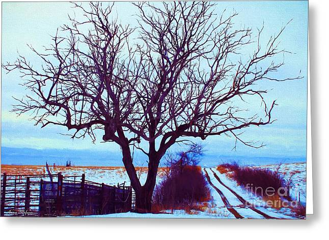 Kansas Landscape Art Greeting Cards - Lonesome Winter Trail Greeting Card by Anna Surface