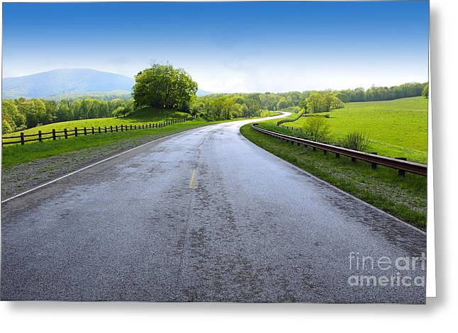 Allegheny Greeting Cards - Long and Winding Road Greeting Card by Thomas R Fletcher