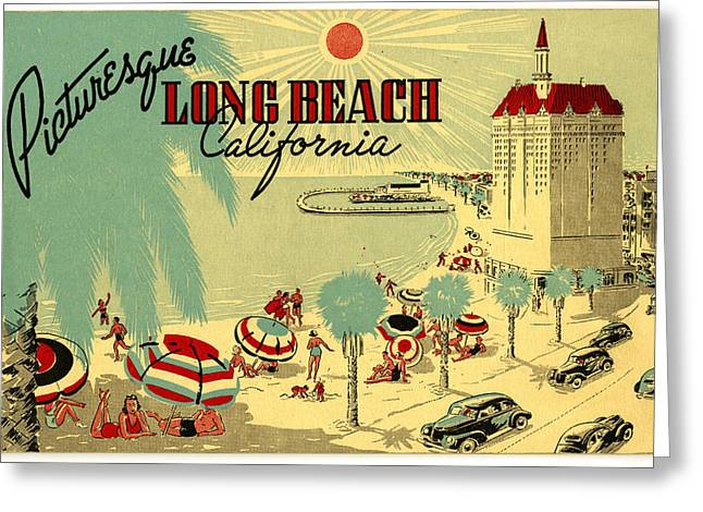 Seaside Digital Greeting Cards - Long Beach 1946 Greeting Card by Nomad Art And  Design