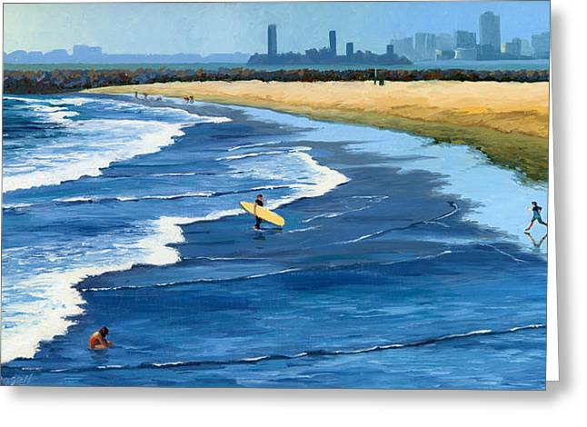 Skyline Paintings Greeting Cards - Long Beach California Greeting Card by Alice Leggett