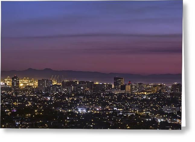 California Beach Art Greeting Cards - Long Beach City and Catalina Island By Denise Dube Greeting Card by Denise Dube