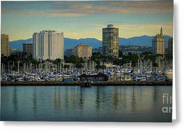 City Scapes Greeting Cards Greeting Cards - Long Beach Cityscape   Greeting Card by Susan Garren