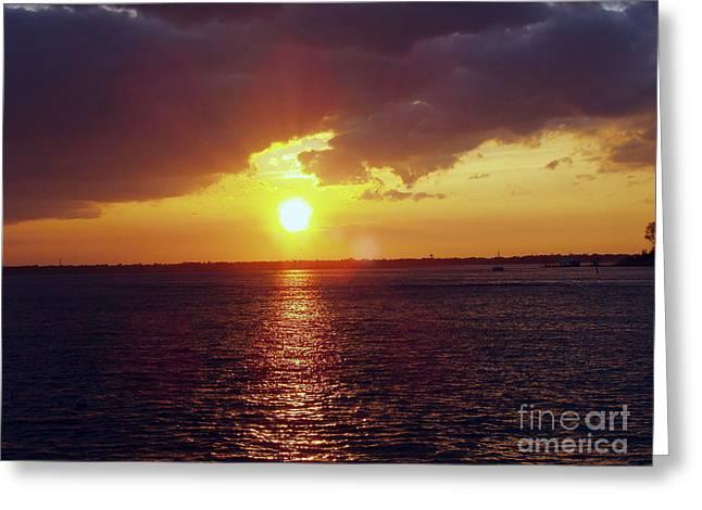 York Beach Greeting Cards - Long Beach Cloudy Sunset Greeting Card by John Telfer