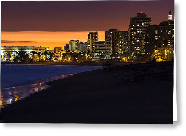 Best Ocean Photography Greeting Cards - LONG BEACH COMES ALIVE AT DUSK By Denise Dube Greeting Card by Denise Dube