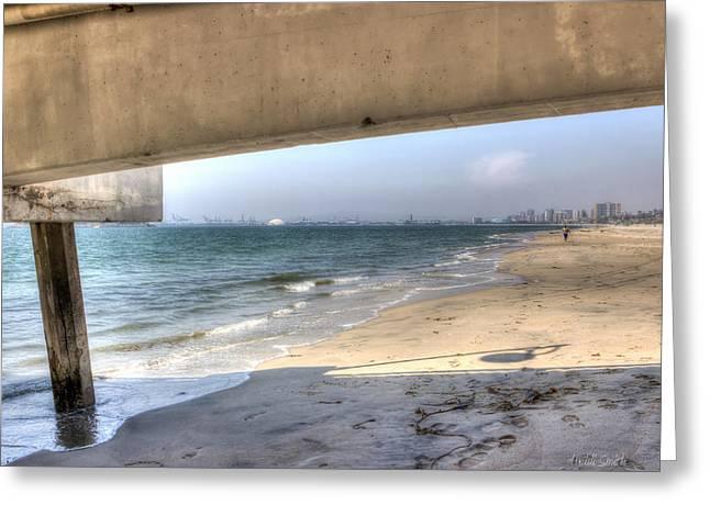 California Beach Art Greeting Cards - Long Beach From Beneath The Pier Greeting Card by Heidi Smith