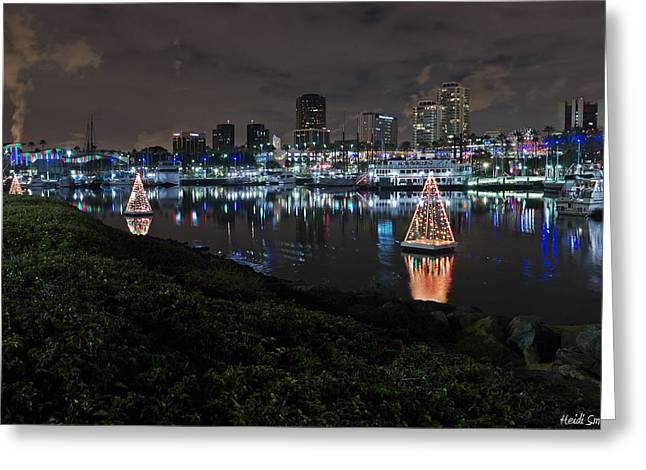 Marina Night Greeting Cards - Long Beach Lights Greeting Card by Heidi Smith