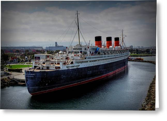 Steam Ship Greeting Cards - Long Beach - The Queen Mary Greeting Card by Lance Vaughn