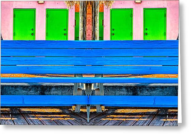 Paint Photograph Greeting Cards - Long Blue Bench Greeting Card by Robert FERD Frank