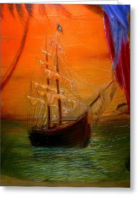 Pirate Ship Mixed Media Greeting Cards - Long Boat Cay Greeting Card by Hank  Bufkin