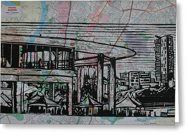 Lino Drawings Greeting Cards - Long Center on Map Greeting Card by William Cauthern