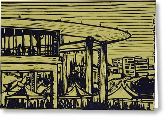 Lino Print Greeting Cards - Long Center Greeting Card by William Cauthern