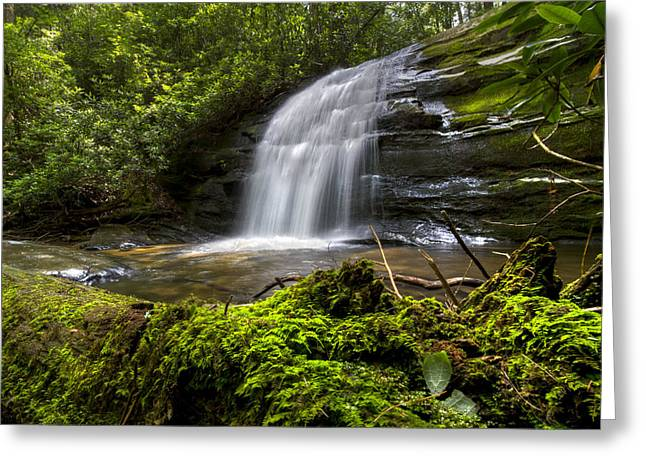 Nantahala Forest Greeting Cards - Long Creek Falls Greeting Card by Debra and Dave Vanderlaan