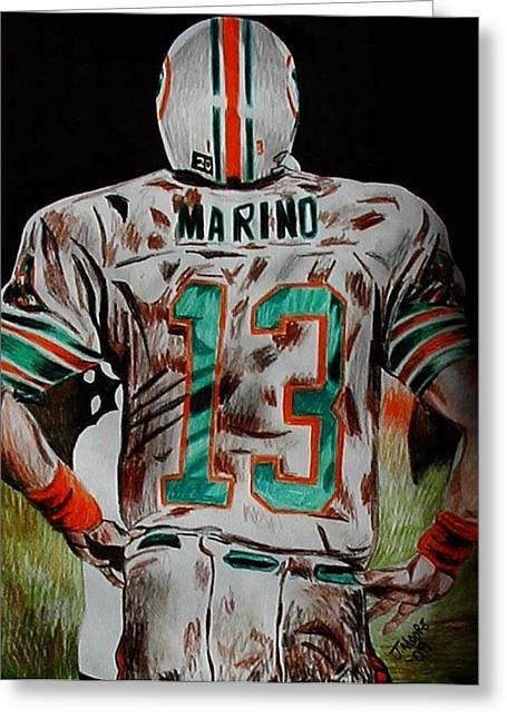 Dan Marino Drawings Greeting Cards - Long Day Greeting Card by Jeremy Moore