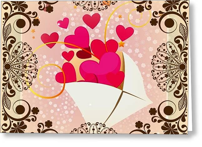 Romantic Tapestries - Textiles Greeting Cards - Long Distance Love Greeting Card by Clive Littin