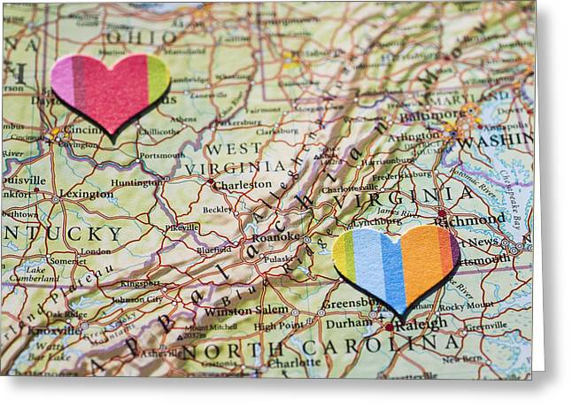 Atlas Greeting Cards - Long Distance Love Greeting Card by Jan Bickerton