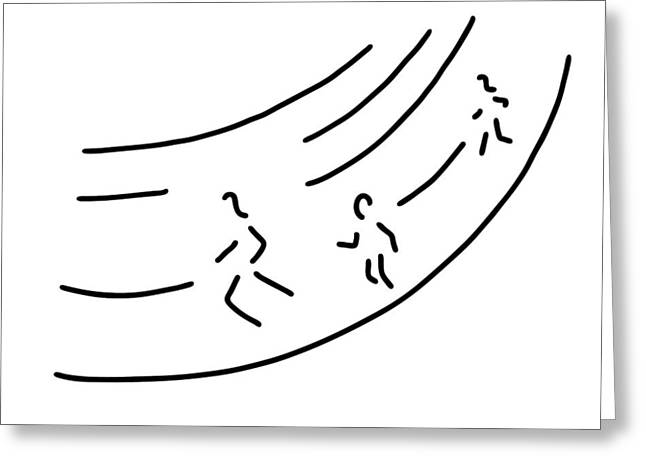 Jogging Drawings Greeting Cards - Long Distance Metre Run Athletics Marathon Greeting Card by Lineamentum