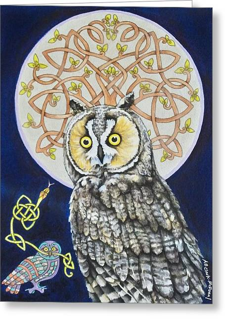 Beth Clark-mcdonal Greeting Cards - Long Eared Owl Greeting Card by Beth Clark-McDonal