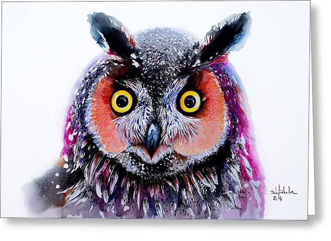 Nocturnal Animal Print Greeting Cards - Long Eared Owl Greeting Card by Isabel Salvador