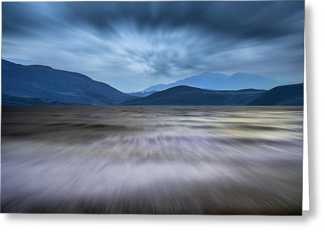 Mountain Greeting Cards - Long exposure landscape of stormy sky and mountains  over lake Greeting Card by Matthew Gibson