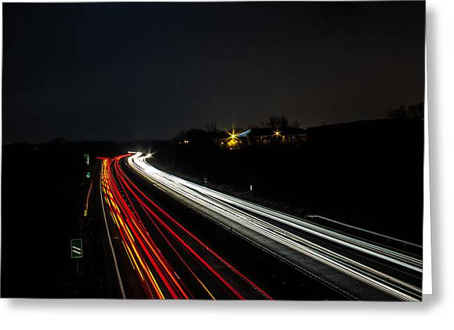 Sprawl Greeting Cards - Long Exposure Light Trails Greeting Card by Martin Newman