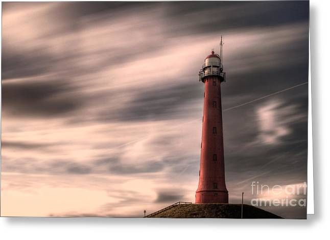 Ijmuiden Lighthouse Greeting Cards - Long exposure lighthouse Greeting Card by Tammo Strijker