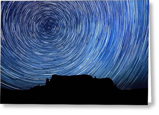 Star Valley Pyrography Greeting Cards - Long Exposure Star Trail Image at Night Greeting Card by Katrina Brown