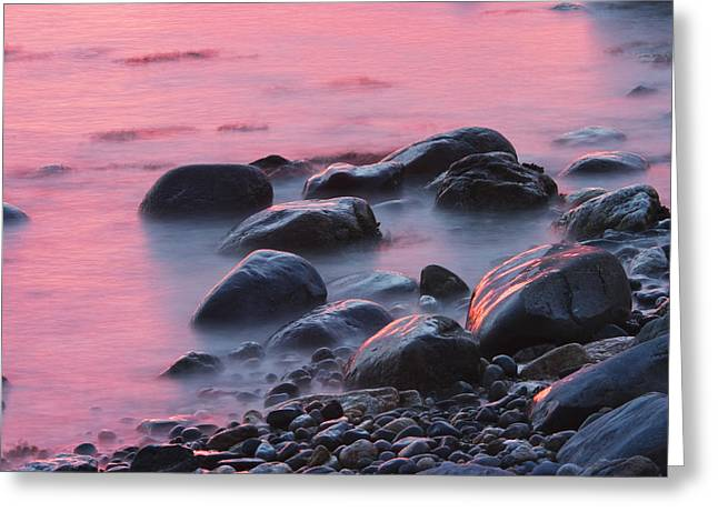 Maine Sunset Greeting Cards - Long Exsposure Of Rocks And Waves At Sunset Maine Greeting Card by Keith Webber Jr