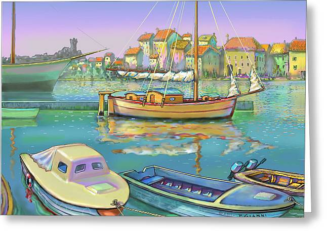 Boat Reflections, Yugoslavia  Greeting Card by Philip Gianni