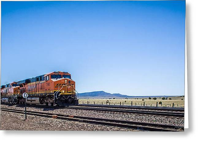 Shower Curtain Greeting Cards - Long Freight Train Arizona Greeting Card by  ILONA ANITA TIGGES - GOETZE  ART and Photography