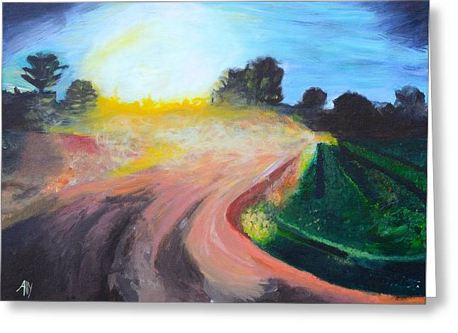 Gravel Road Paintings Greeting Cards - Long Gone Greeting Card by Ally Perkins