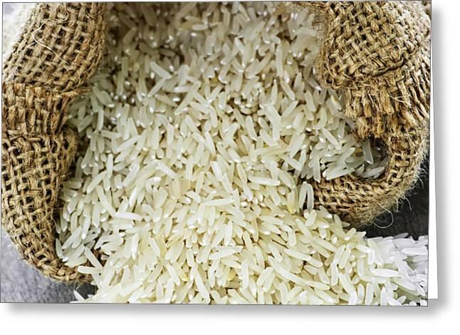 Long grain rice in burlap sack Greeting Card by Elena Elisseeva