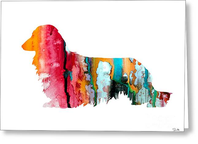Silhouette Art Greeting Cards - Long Haired Dachshund 2 Greeting Card by Luke and Slavi