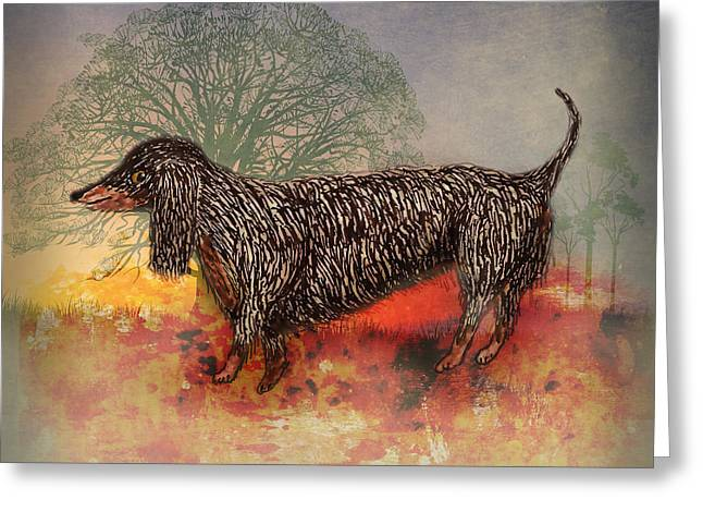 Black And Tan Dachshund Greeting Cards - Long Haired Dachshund Dog Greeting Card by Terry Fleckney