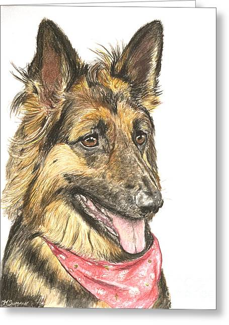 Guard Dog Pastels Greeting Cards - Long Haired German Shepherd in Red Bandana Greeting Card by Kate Sumners