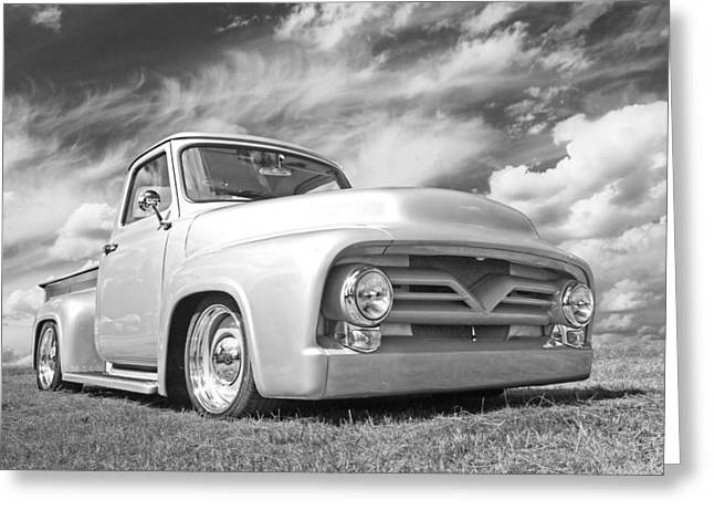 Monochrome Hot Rod Greeting Cards - Long Hot Summer in Black and White Greeting Card by Gill Billington