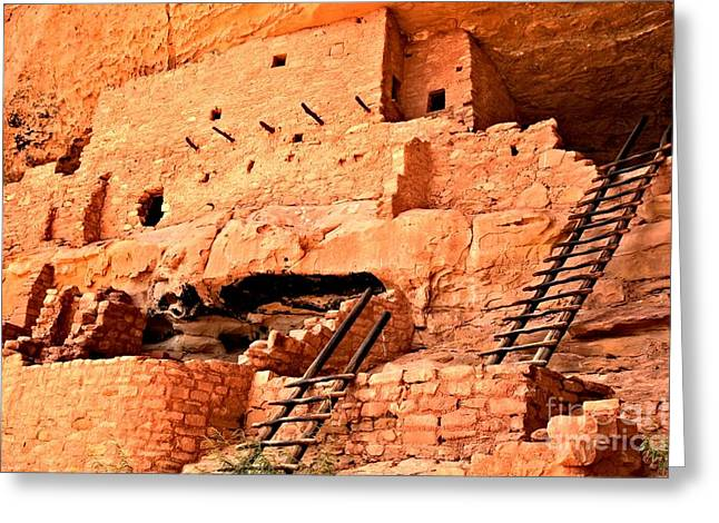 Mesa Verde Greeting Cards - Long House Ladders Greeting Card by Adam Jewell