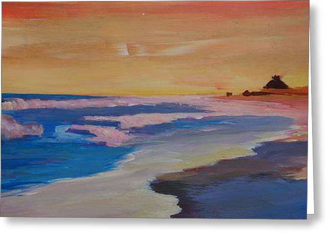 East Hampton Paintings Greeting Cards - Long Island Beach Scene - Hamptons South Fork Beach Walk with House II  Greeting Card by M Bleichner
