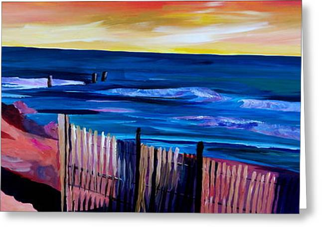 East Hampton Paintings Greeting Cards - Long Island Beach Scene - Hamptons South Fork Beach Walk with Fence II Greeting Card by M Bleichner
