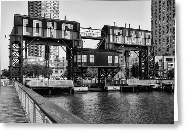 Transfer Greeting Cards - Long Island City BW Greeting Card by Susan Candelario