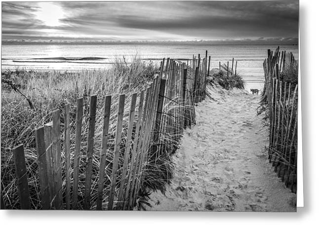Blue Sky And Sand Greeting Cards - Long Island in A Picture Greeting Card by Ryan Moore