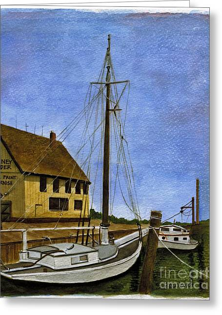 Docked Sailboat Greeting Cards - Long Island Marina Greeting Card by Sheryl Heatherly Hawkins