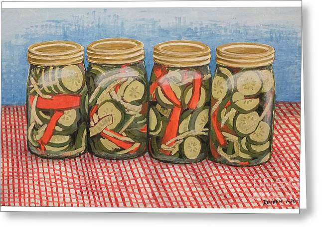Long Island Pickles Greeting Card by Reuven Gayle