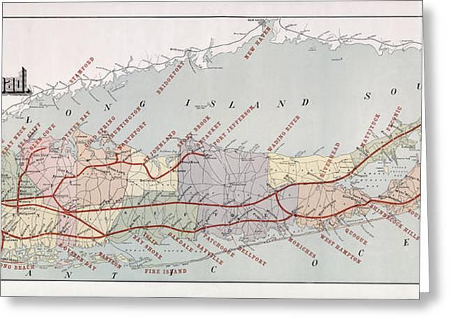 Babylon Greeting Cards - Long Island Railroad Map 1895 Greeting Card by Daniel Hagerman