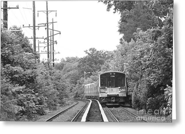 Black And White Train Track Prints Greeting Cards - Long Island Railroad Pulling into Station Greeting Card by John Telfer